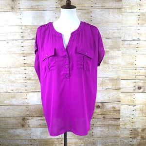 I.N.C. Purple Double Pocket Short Sleeve Blouse 1X